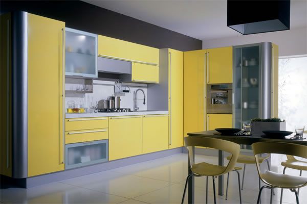 Yellow kitchens for Modern yellow kitchen cabinets