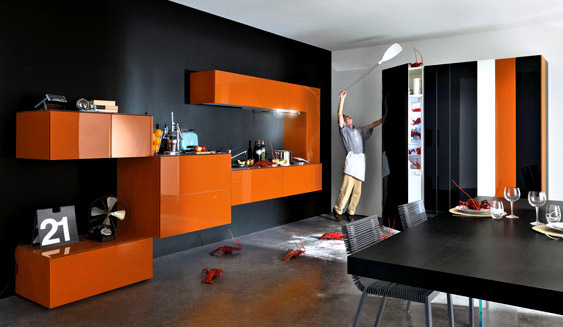 Orange kitchens for Italian modular kitchen