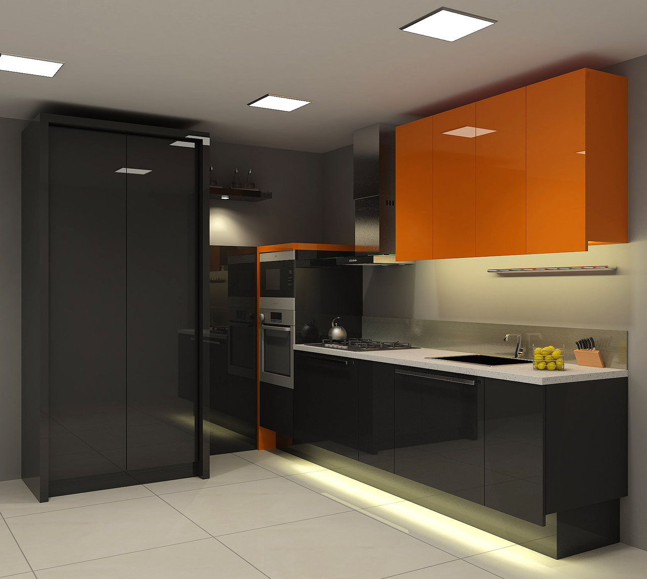 Orange kitchens for Small kitchen black cabinets
