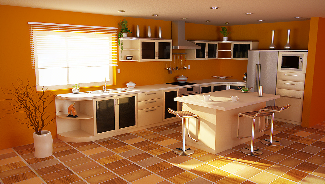 orange color kitchen design. blue wall paint and orange kitchen