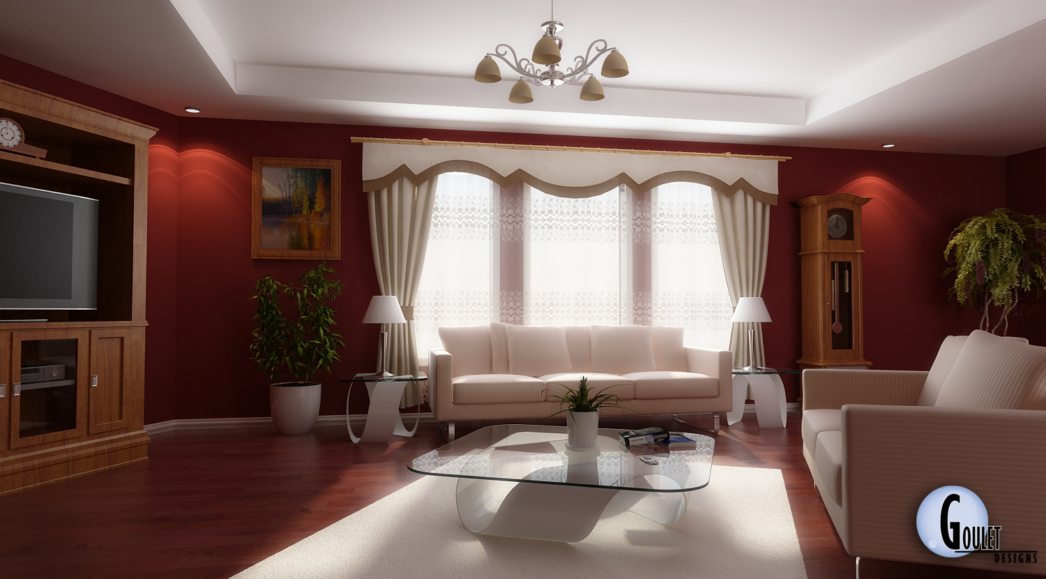 Living room decorating home designer for Red room design ideas