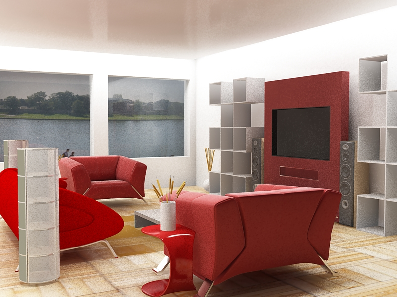 Lovely Red And White Living Room