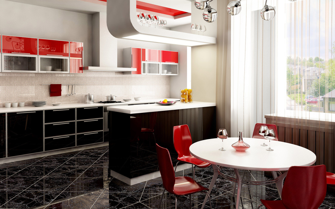 Black and red kitchen home decorating ideas for Black kitchen walls