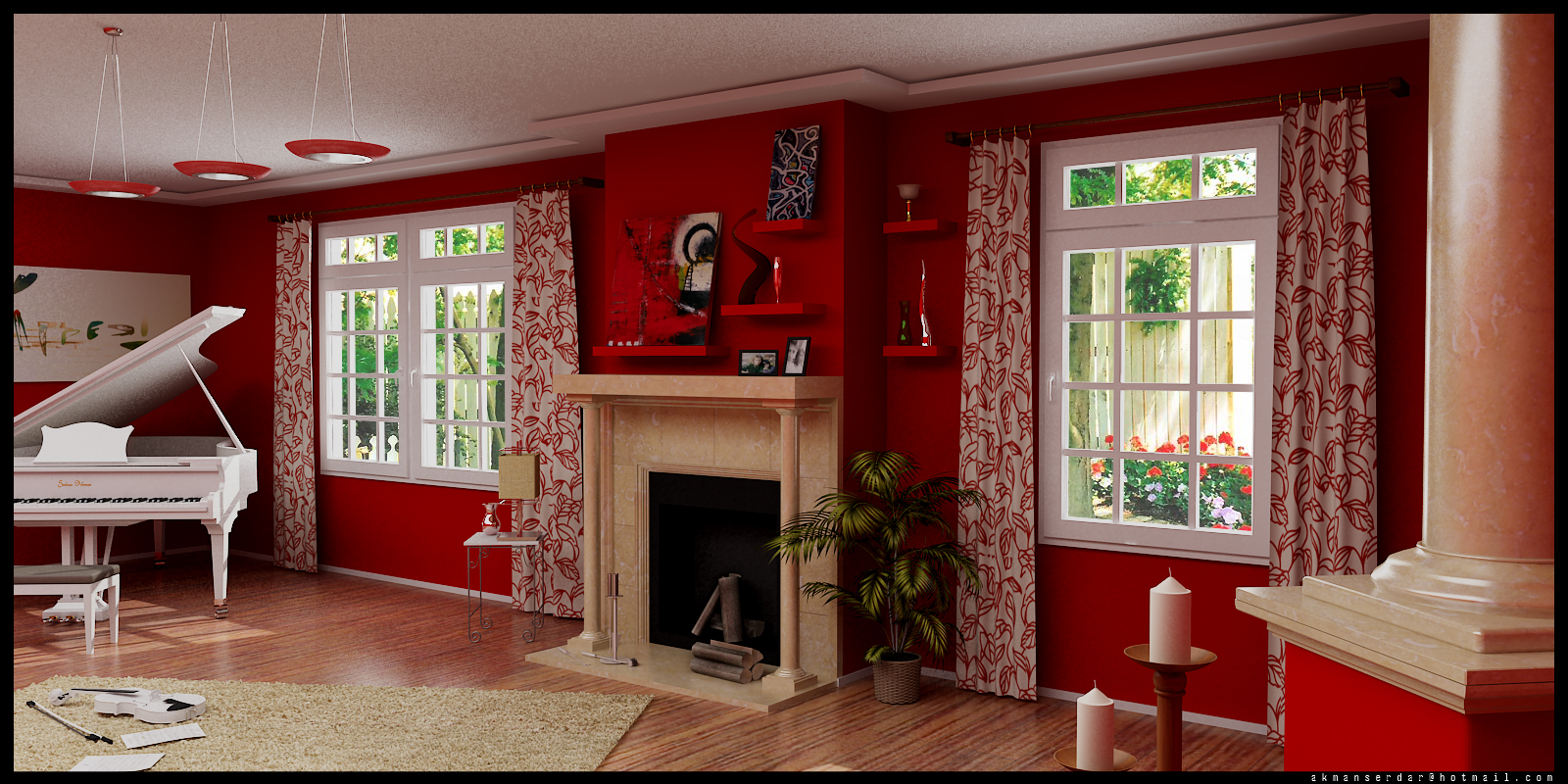 Living Room Design Red