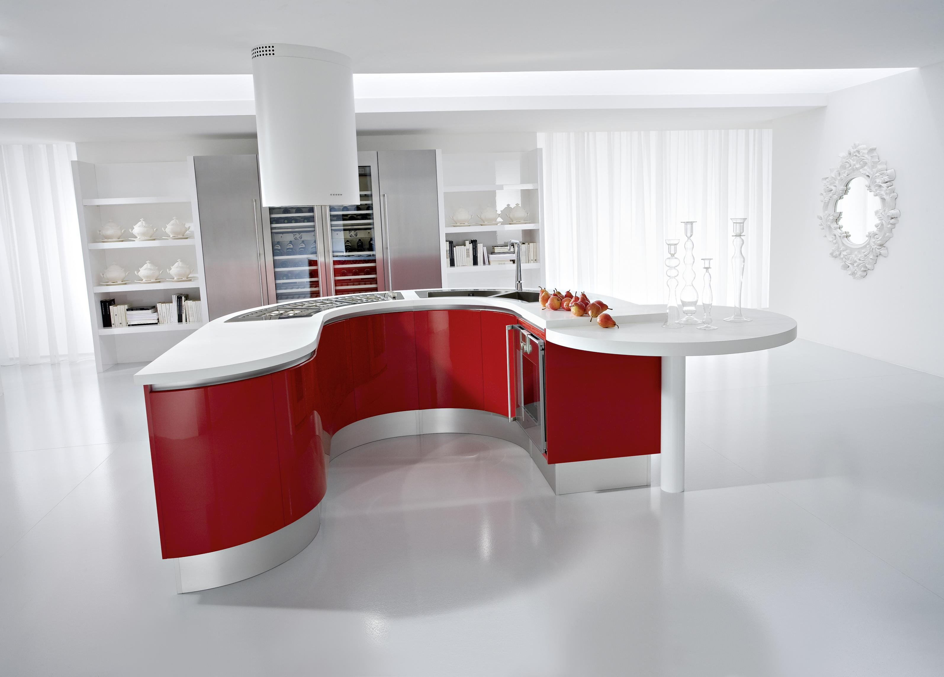Red kitchens for Red kitchen designs photo gallery