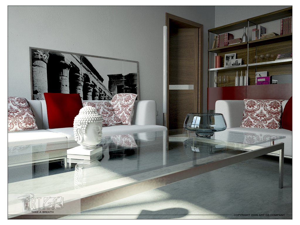 Red And White Living Rooms - Black and grey and red living room
