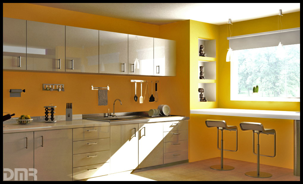 kitchen design yellow colour  Yellow Kitchens