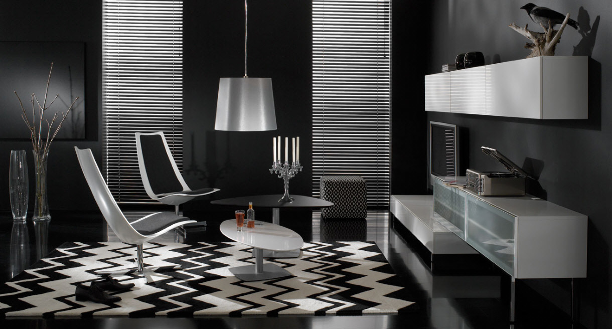 Contemporary living room furniture for Black and white living room set