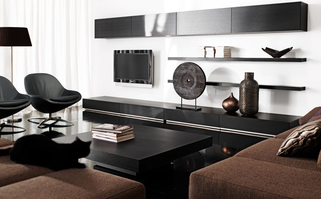 Contemporary living room furniture for Black front room furniture
