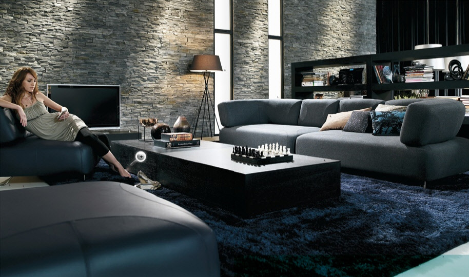 Contemporary living room furniture Wall texture designs for living room