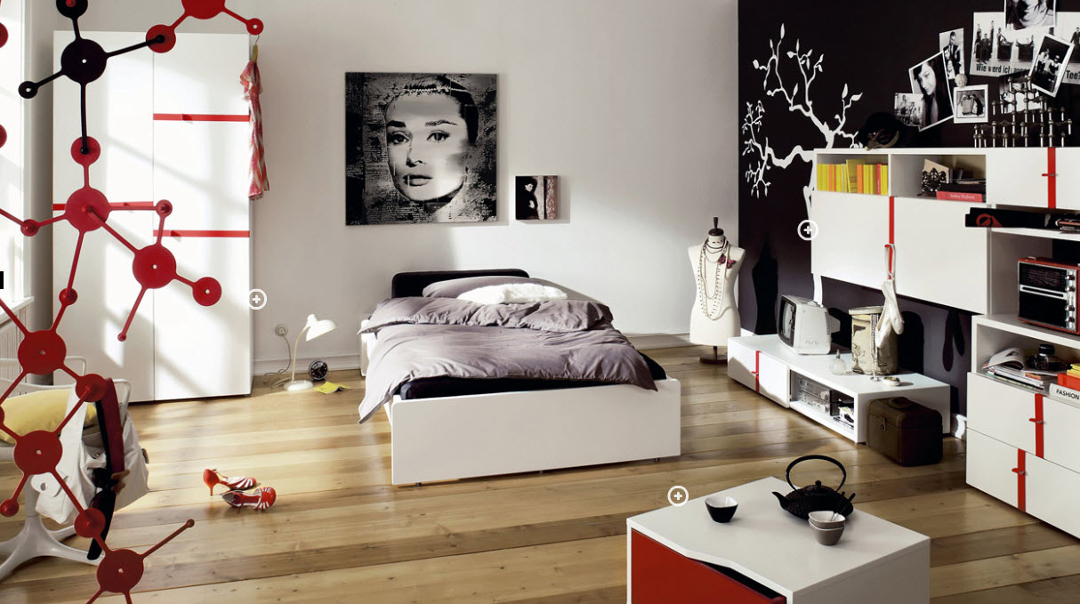 Trendy teen rooms for Black and white girls bedroom ideas