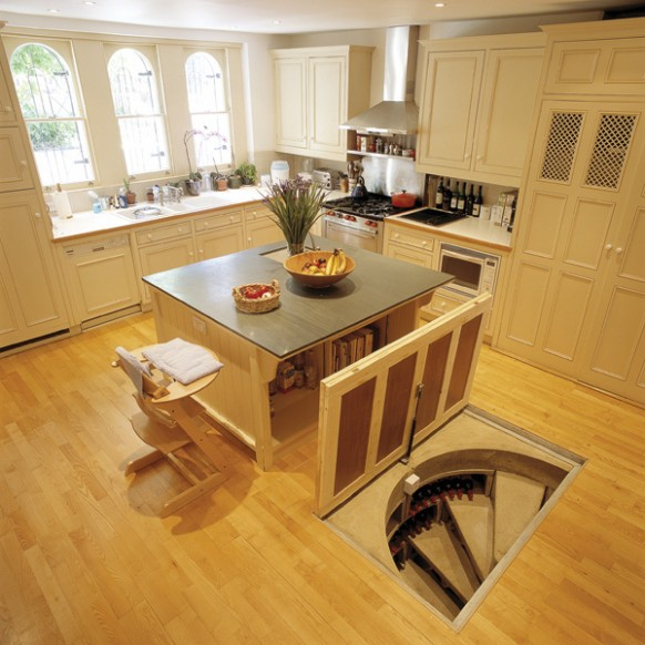 Trap door wine cellar designs for Kitchen entrance door designs