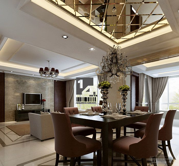 Modern chinese interior design for Pictures of dining room designs