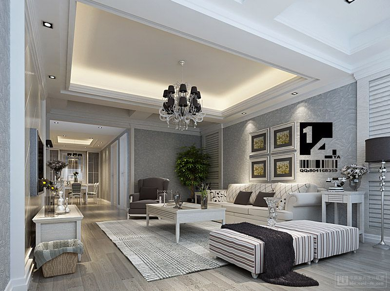 Modern chinese interior design Modern white living room decor