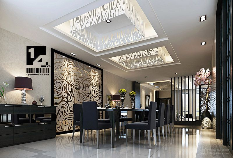 Modern chinese interior design for Modern dining room design photos