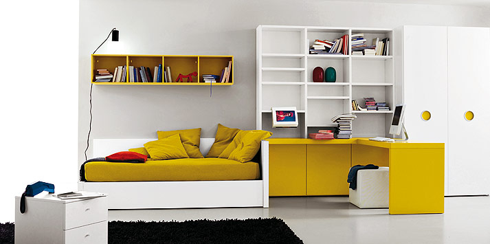 ochre white bed room - Teenagers Room Decoration