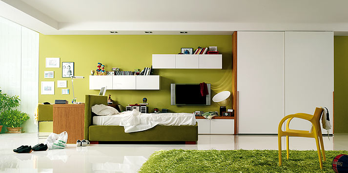 Beautiful Pencil Green Yellow Bedroom