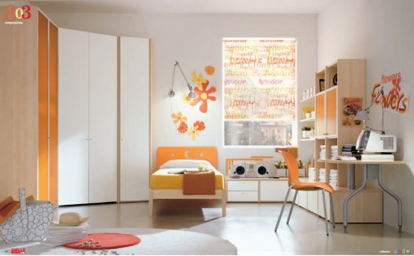 Orange and white bedroom