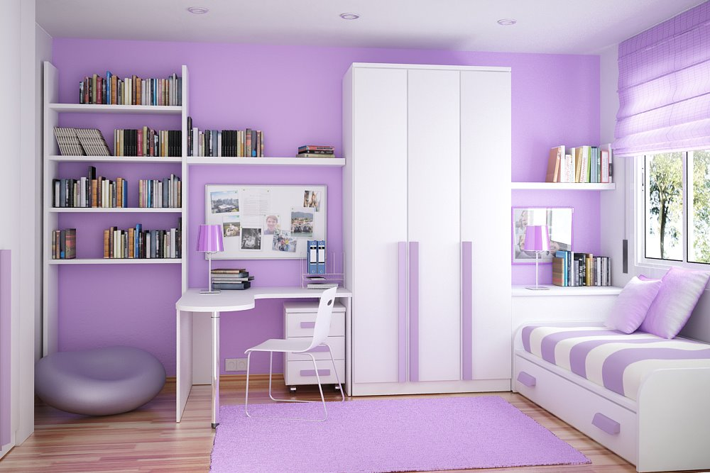 color coordinated compact room - Interior Design Kids Bedroom