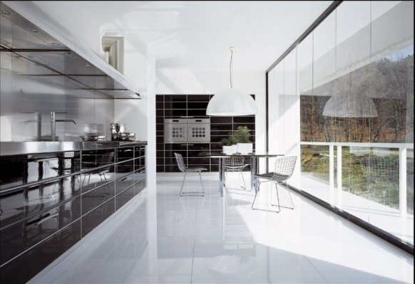 kitchen with french window