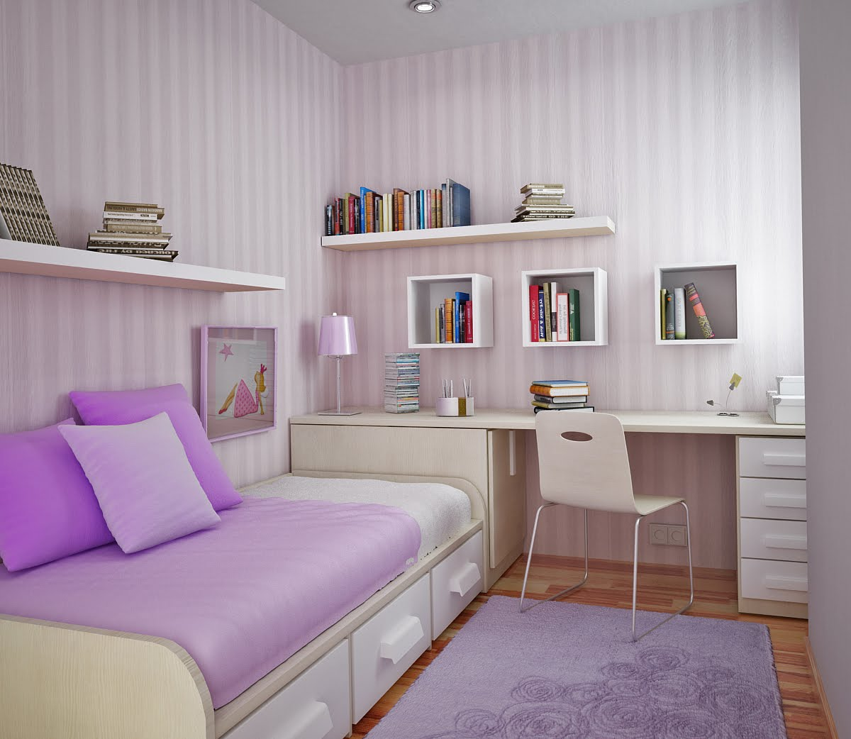 lilac room. Space Saving Ideas for Small Kids Rooms