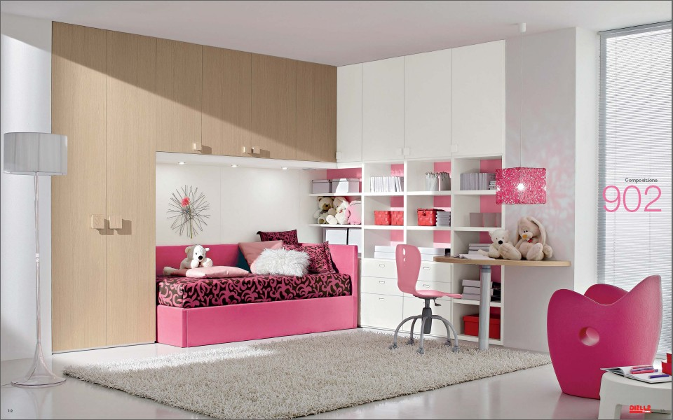 Modern kids room furniture from dielle for Pink bedroom designs for teenage girls