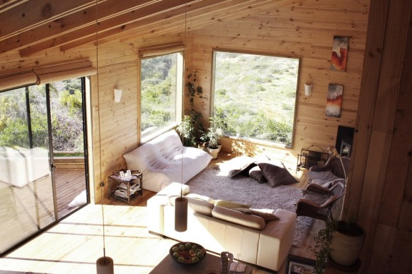 wooden living room