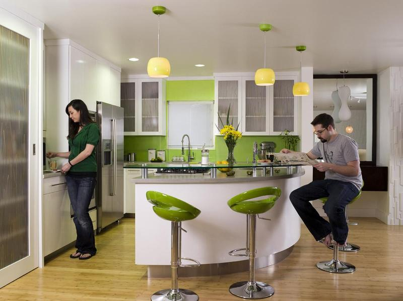 Green kitchens for Estilos de cocinas pequenas