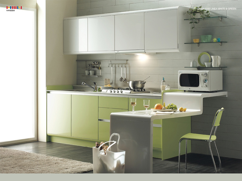 Green kitchens for Kitchenette design ideas