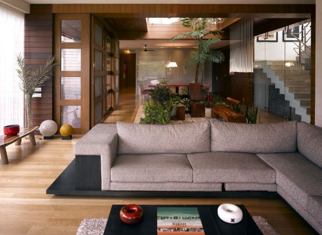 N85 residence in new delhi india for Indian living room furniture