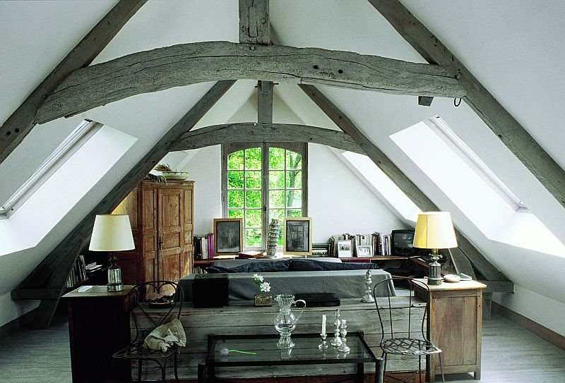 Beautiful french country house An attic room