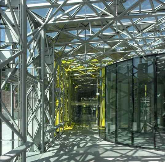 Solar powered design centre - passage way