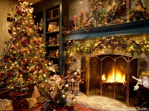 christmas interiors - christmas tree and fireplace
