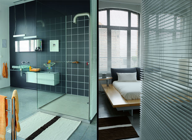 New classic style loft in france for Male bathroom design