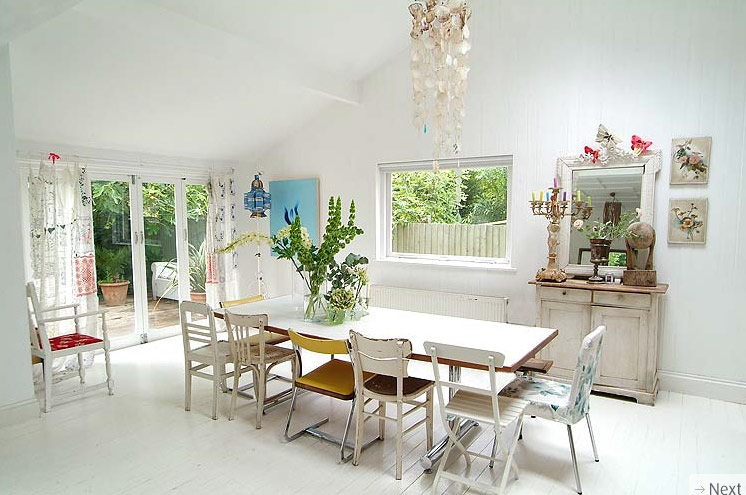 dining area and backyard