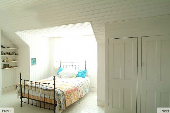 double bed white interiors