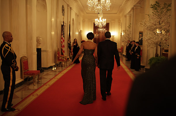 Obama With Michelle Walking Down A Whitehouse Corridor. Oval Office  Diningroom Interiors