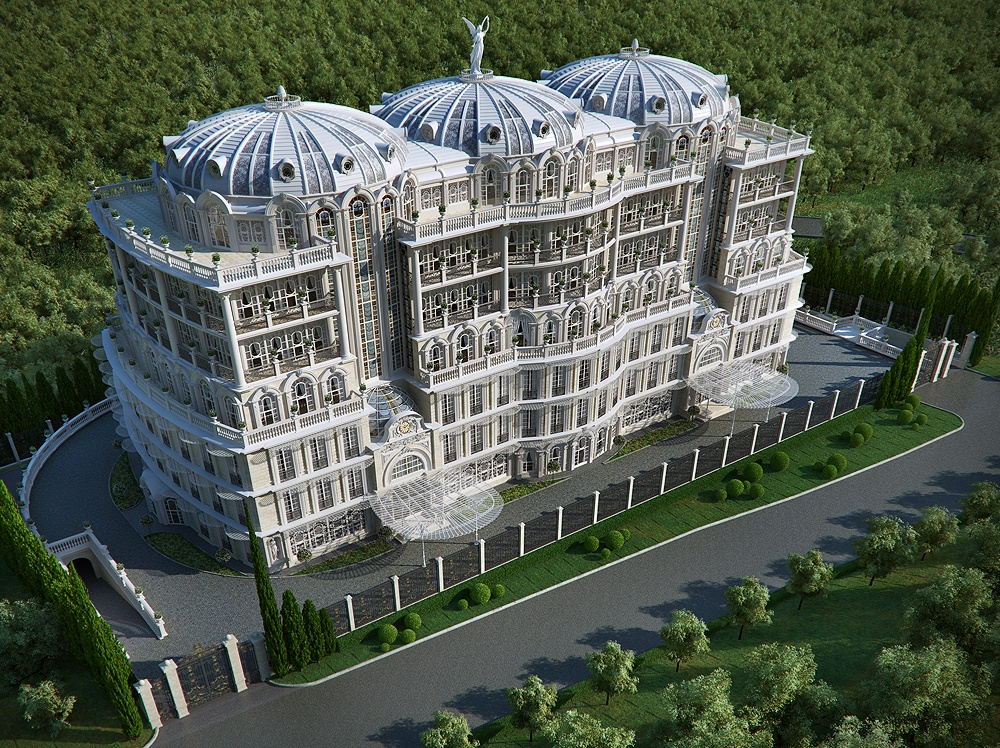 Stunning palace made using cg for Palatial home designs