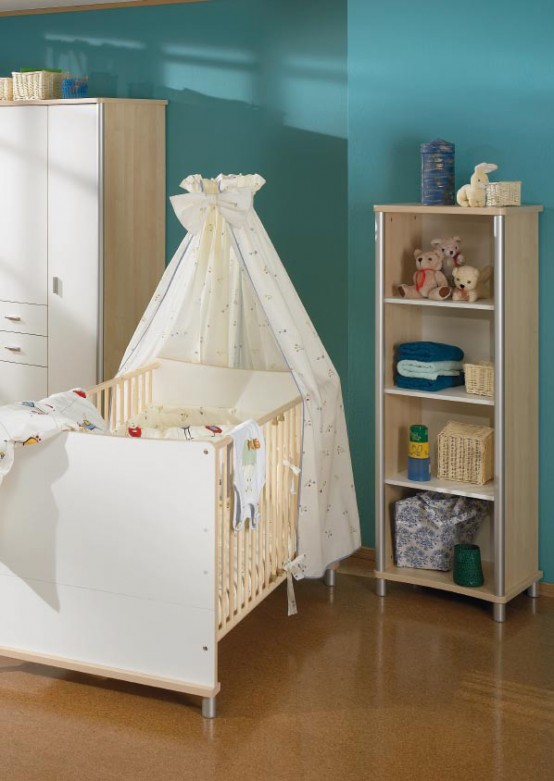 white and wood baby nursery furniture sets by Paidi 12
