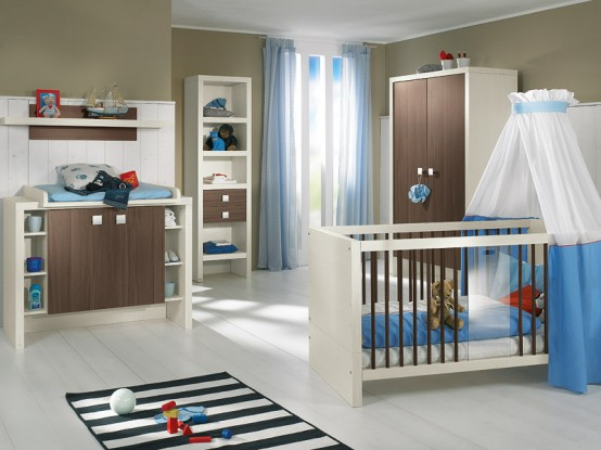 white and wood baby nursery furniture sets by Paidi 2