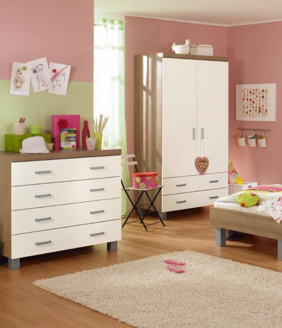 white and wood baby nursery furniture sets by Paidi 27