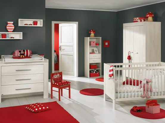 white and wood baby nursery furniture sets by Paidi 3