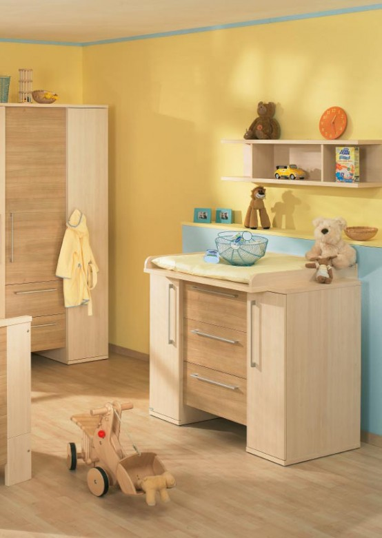 white and wood baby nursery furniture sets by Paidi 41