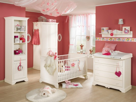 white and wood baby nursery furniture sets by Paidi 5 Nursery Furniture Sets
