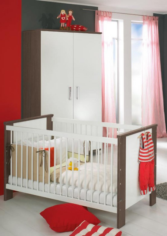 white and wood baby nursery furniture sets by Paidi 9