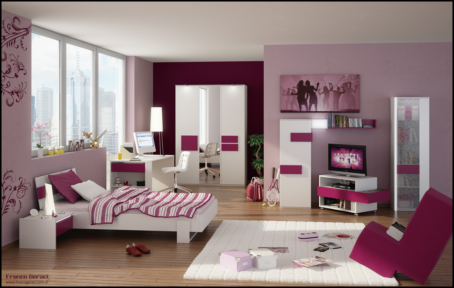 Best interior design feminine home designer - Girl colors for bedrooms ...