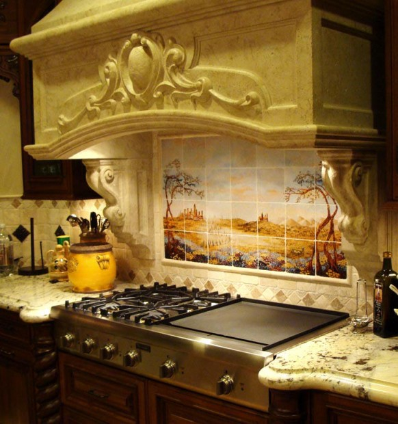 Fields of Tuscany kitchen backsplash stone hood peterson