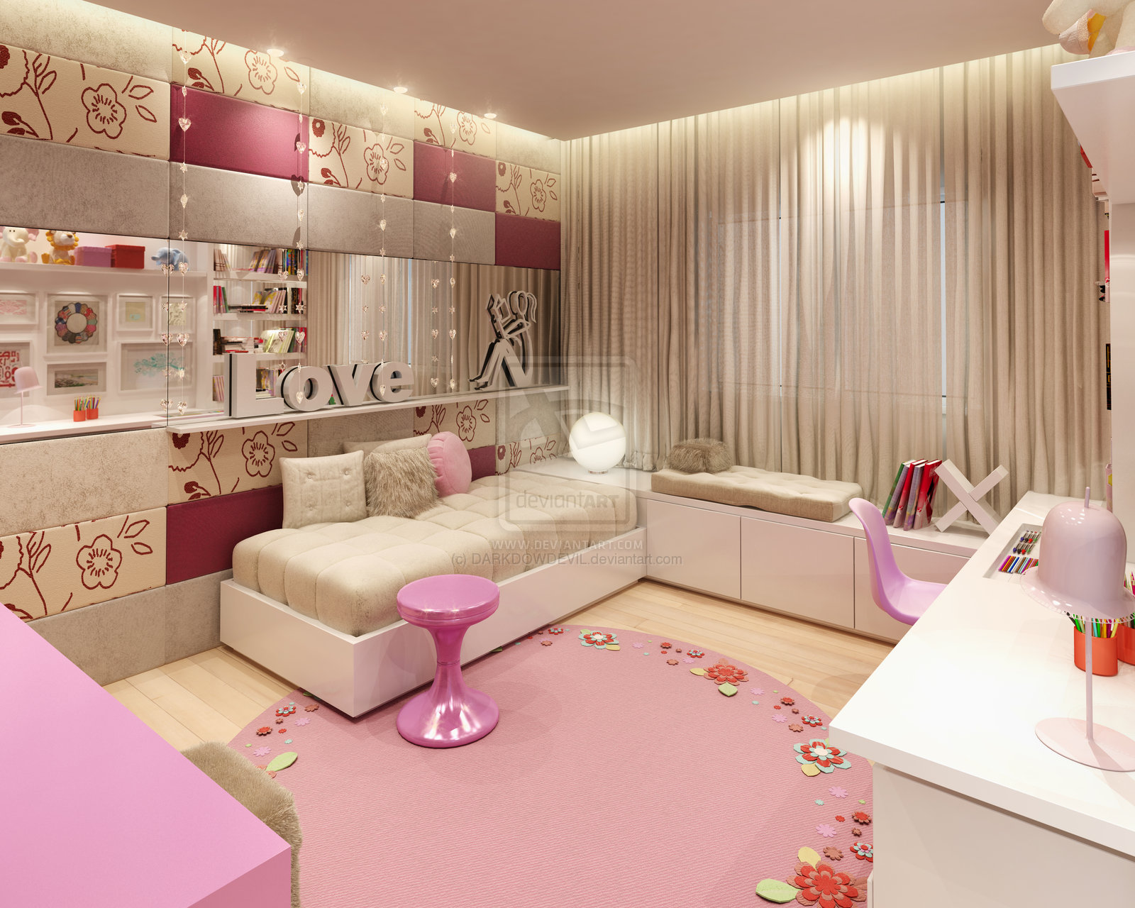 Home design interior monnie best girl bedrooms in the world for Pink bedroom designs for teenage girls