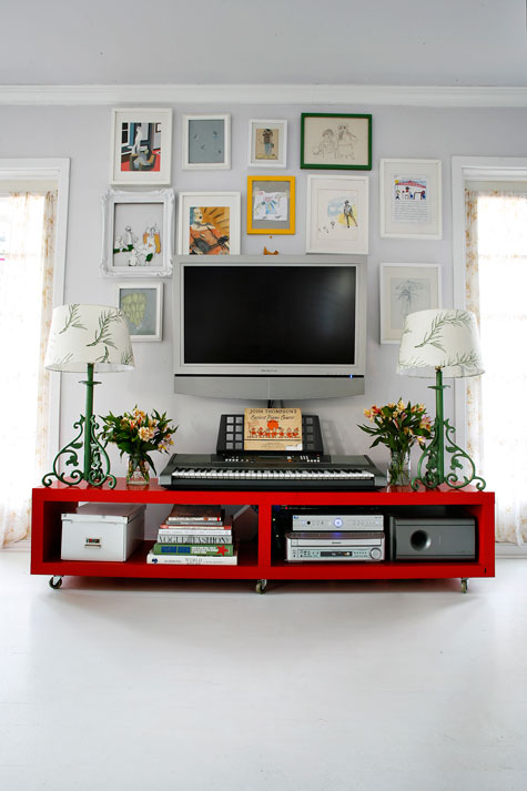 red tv cabinet