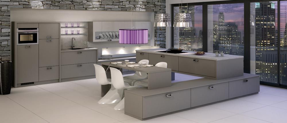 amazing white purple kitchen with design Purple Kitchen Design  Combined With Tones And Glass Table